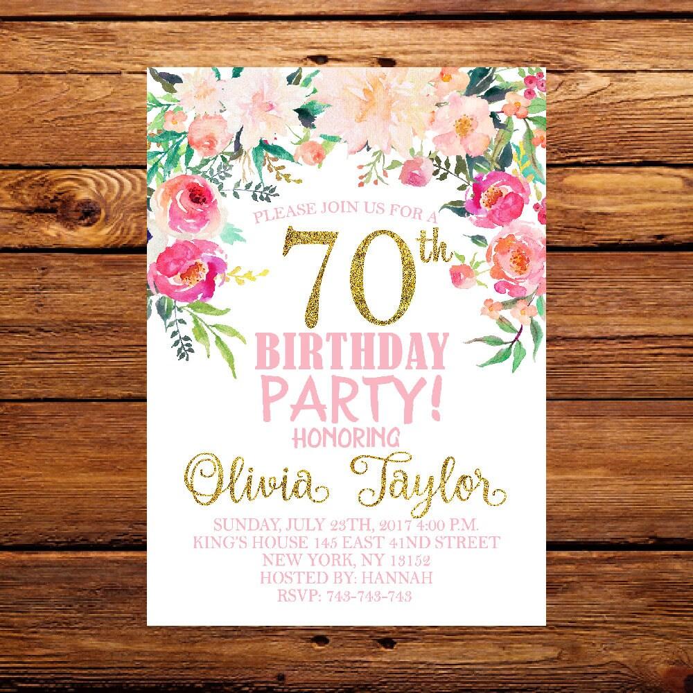 70th Birthday Invitation Floral Birthday Invitation Ladies | Etsy