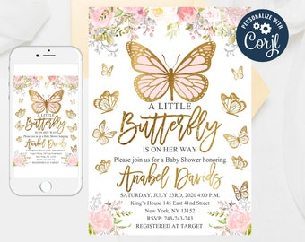 Girl Baby Shower Invite, Editable Butterflies Watercolor Floral, Fairy Baby Shower, Blush Pink, Floral Invitation Butterfly Template 63