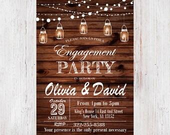 Rustic Engagement Party Invitation, Engagement Party Invitation,  Custom Invitation, Printable invitation, Light Bulb Invites 2
