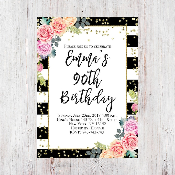 Floral Birthday Invitation 90th For