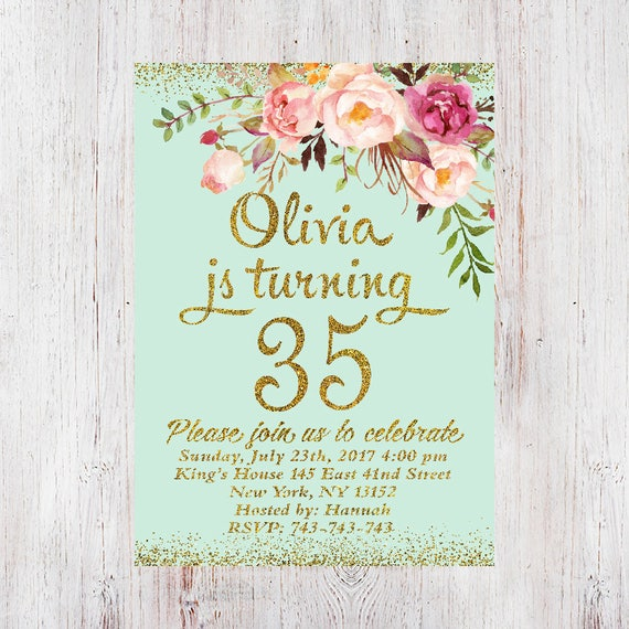 35th Birthday Invitation Women Floral