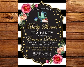 Baby Shower Tea Party Invitation, Flower Invite,Floral Baby Girl,Tea Party Baby Shower Invitation,High Tea, A Baby is Brewing Invitation 143