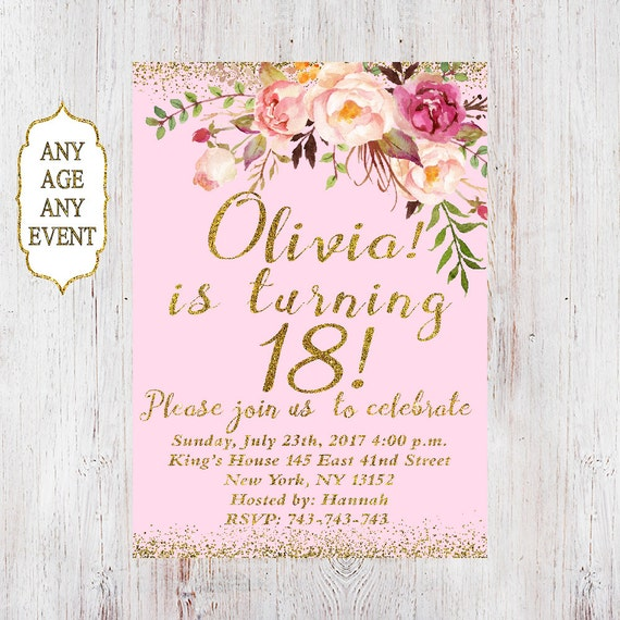 18th birthday invitationwomen birthday invitation floral etsy
