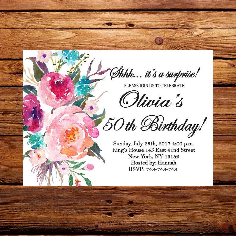 50th Birthday InvitationFloral InvitationFemale InvitationSurprise Invitation 60th 70th 80th 90th 199