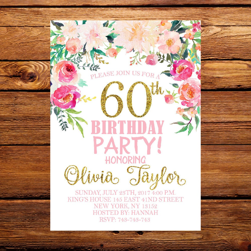 60th Birthday InvitationWatercolor Flowers Invitation Floral | Etsy
