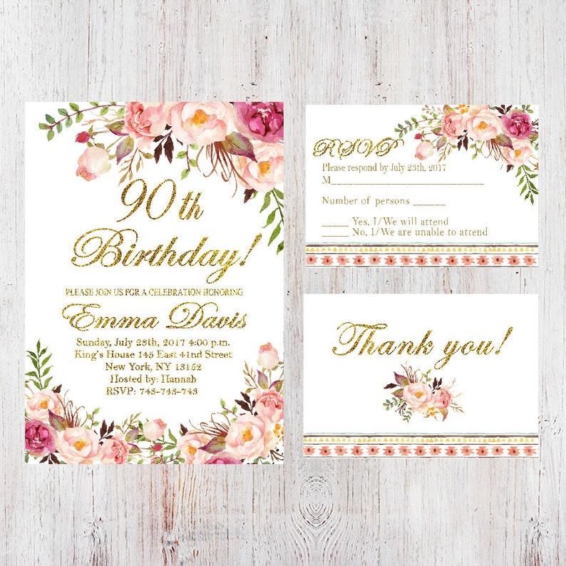 photograph about Free Printable 90th Birthday Invitations identified as 90th Birthday Invitation,Females Birthday Invitation,Floral White Ladies Birthday Invite,Totally free RSVP card and Absolutely free Thank on your own card,Any Age 137