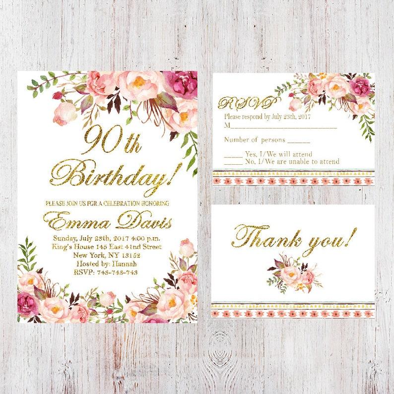 90th Birthday InvitationWomen InvitationFloral