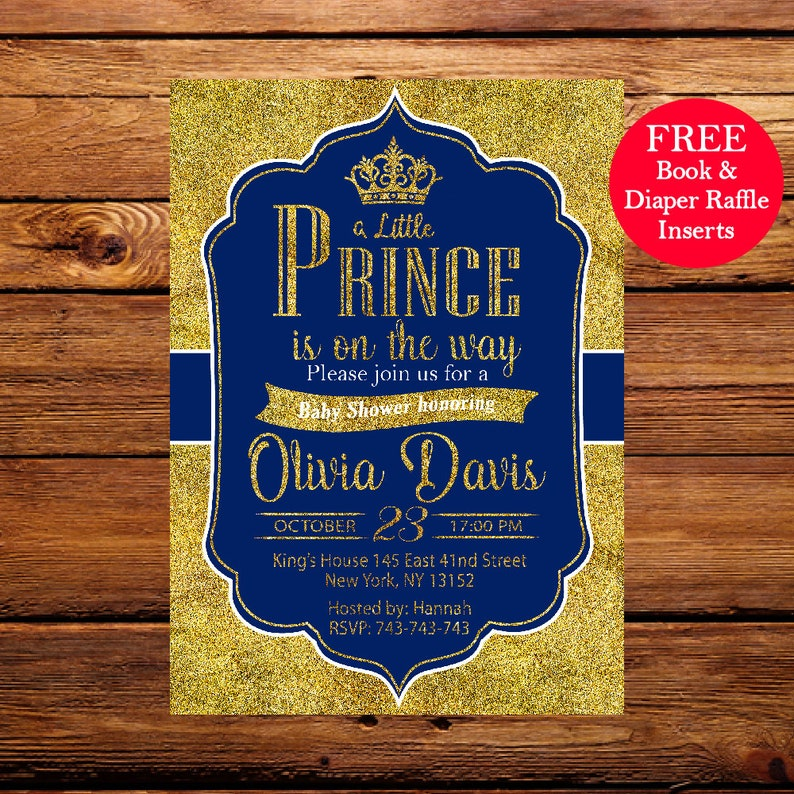 picture relating to Free Printable Prince Baby Shower Invitations titled Prince Boy or girl Shower Invitation, Royal Blue Gold Youngster Shower Invitation,Crown Gold Glitter, Minimal Prince,Printable Boy or girl Shower Invitation 089