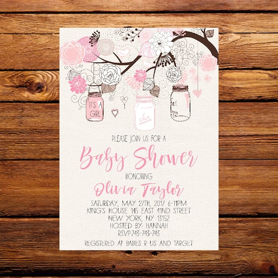 Pink mason jar baby shower invitation mason jar baby shower etsy image 0 filmwisefo