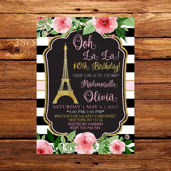 Oh Lala Urodziny Zaproszenie Paris Vintage Pocztówka Etsy