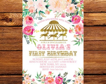 Carousel Birthday Invitation, Carousel First Birthday,Carousel Birthday Invitation, Pink and Gold Carousel,Watercolor Flowers 222
