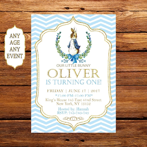 Peter Rabbit Birthday Invitation Boy First Birthday Peter Etsy