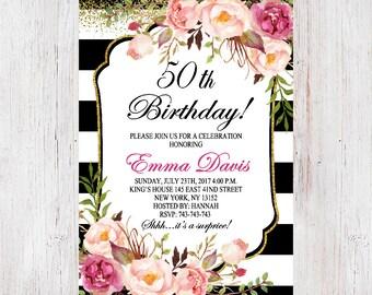 Floral Birthday Invitation, 50th Birthday Invitation for women, Surprise 50th Birthday, Black and Gold Glitter, Black & White Stripes 219
