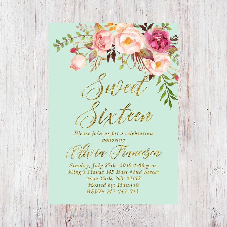 Floral 16th Birthday Invitation Party Invitations