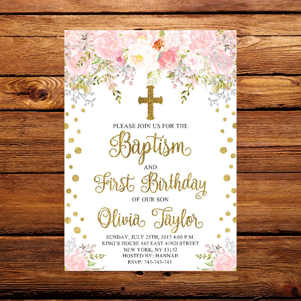 Floral First Birthday & Baptism Invitation Pink and Gold | Etsy