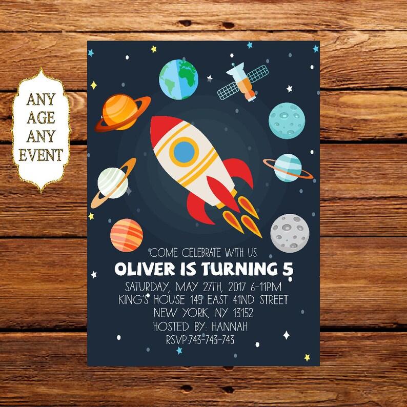 Planet Birthday Invitation Space Themed Birthday Party Etsy