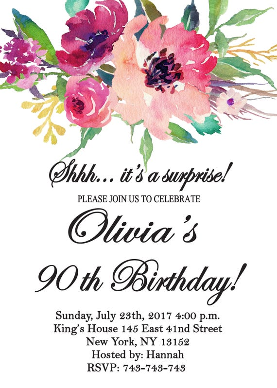 Floral InviteSurprise 80th Birthday Invitation Women