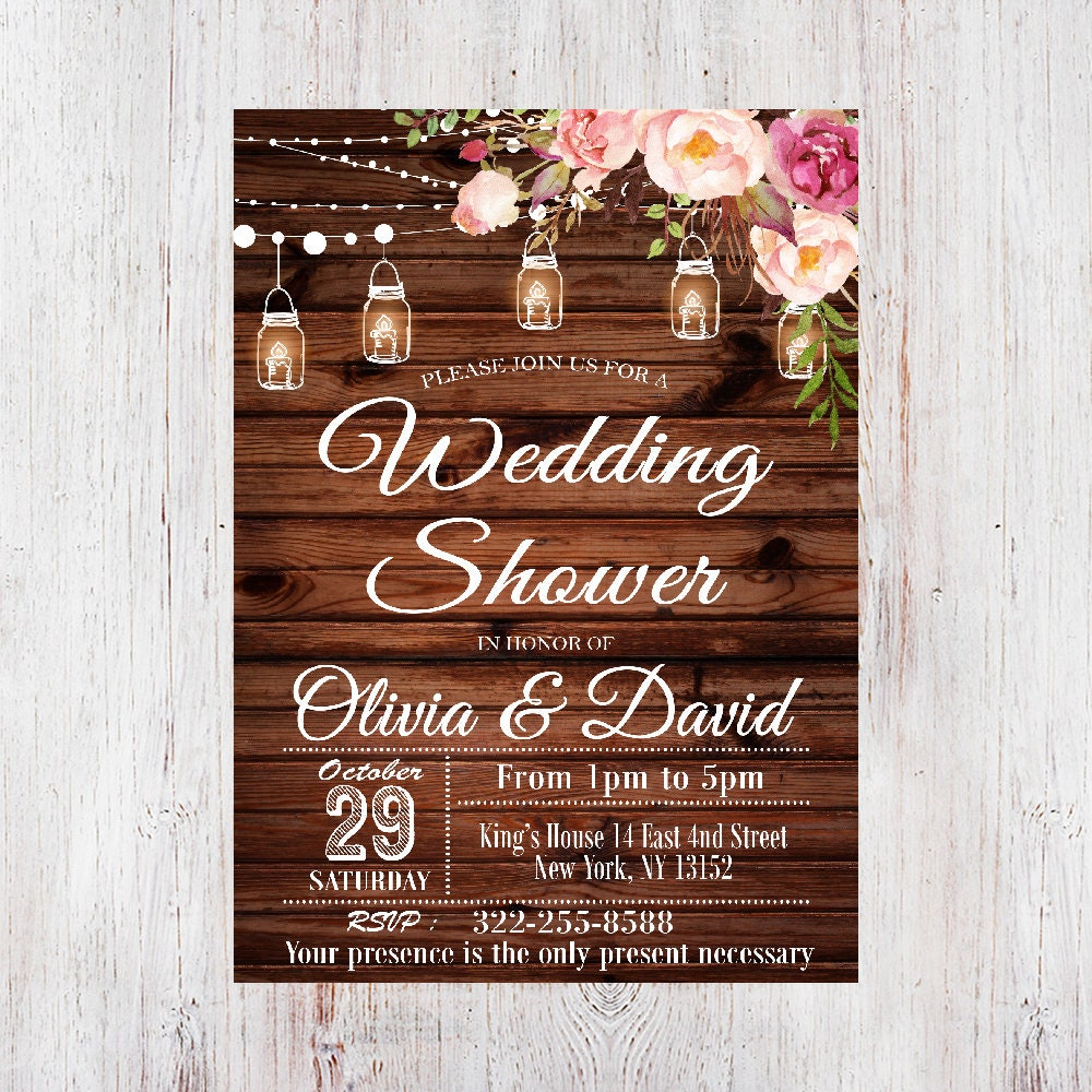 wedding shower invitation wedding shower mason jar invitation floral wedding shower invitation rustic wedding shower invitation 4