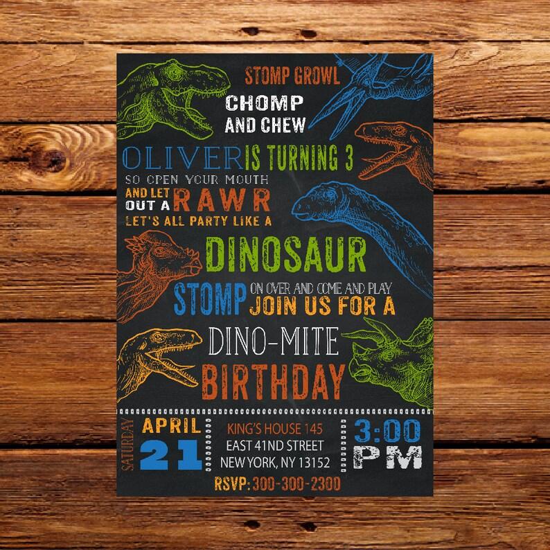 Dinosaur Birthday InvitationDinosaur Dino 3rd