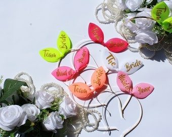 Bride Headband, Bachelorette tiara, Bridesmaid headbands, Bride Bunny ears, Bridal tiara, The Bride, Bridal diadems, Bunny ears Tiara, RMSW