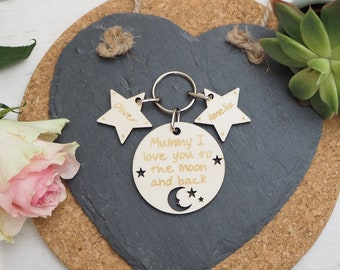 Personalised To The Moon Keyring, Mother's Day Gift Idea, Wooden, Anniversary, Wedding, Birthday, Valentine's Day