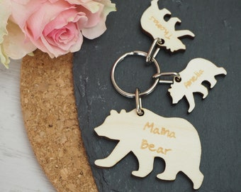 Personalised Mama Bear Keyring, Mother's Day Gift Idea, Wooden, Anniversary, Wedding, Birthday, Valentine's Day