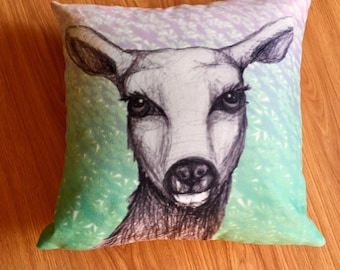 Deer Lucy- Monochromatic&Glitter. pillow cushion turquoise, green, colourful. Woodland animal print