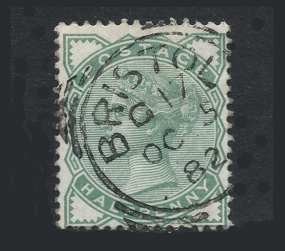 Great Britain 1880 Halfpenny Green Fine Used Victorian Postage Stamp Ideal For Collector Of British Stamps Uk