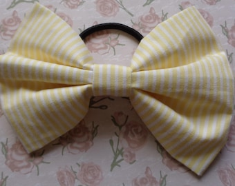 Yellow And White Stripe Fabric Hair Bow