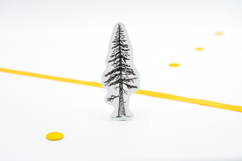 Pine Tree sticker in black and white/ Great laptop sticker to image 0