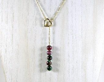 Jasper lariat necklace; stacked bead lariat necklace; lariat necklace
