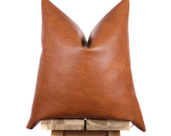 Faux Leather Pillow Cover | Bourbon | Naima