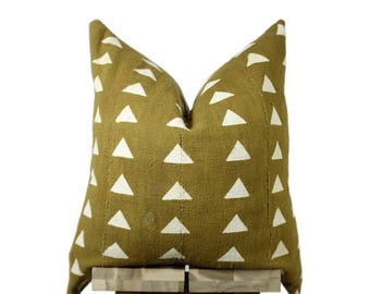 Mudcloth Pillow Cover, Authentic African Mud Cloth | Mustard | 'Nia'