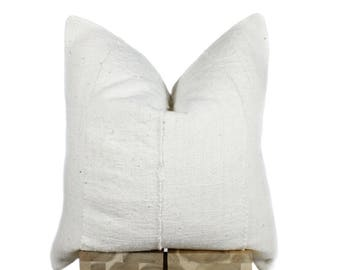 Natural Mudcloth Pillow Cover, African Mud Cloth, African Pillow | 'Ina'