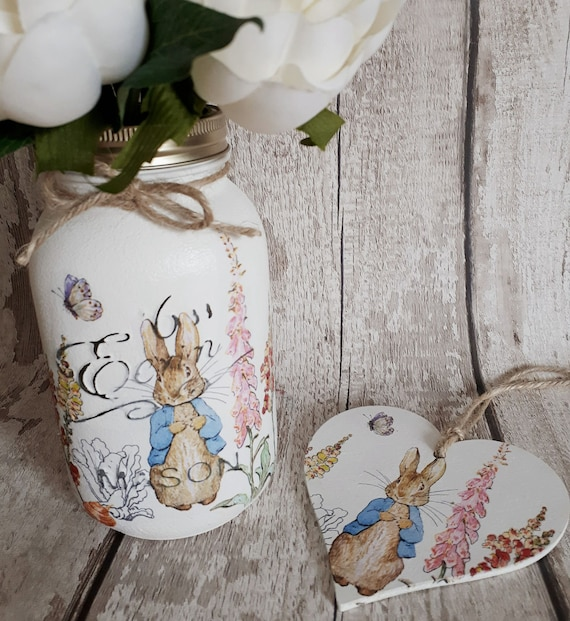 Peter Rabbit Gift Set, Mason Jar and Hanging Heart, Pretty Painted Jar,  Wooden Hanging Heart , Decoupage