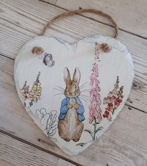 Peter Rabbit, Painted Slate Hanging Heart, Plaque, Large, Decoration, Gift,  Handmade, Decoupage