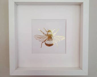 Gold Foil Bee Print, Framed Bee Print, Box Frame, Bumble Bee Picture