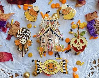 Spooky Halloween Collection 2020. Enamel pin. Pumpkin hard enamel pin. Jack o lantern. Candycorn. Lollipop. Skull. Gold finish. Glitter.