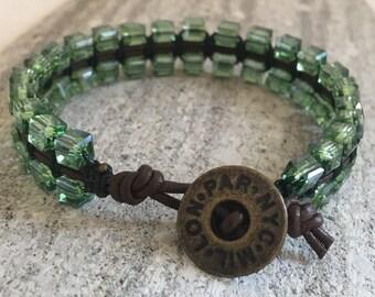 Macrame & Bead Leather Bracelet