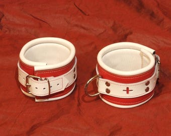 Padded ankle cuffs, 70 mm wide, Red Cross, red and white
