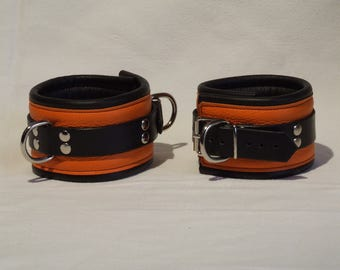Leather ankle cuffs, genuine leather, soft padded, orange-and black