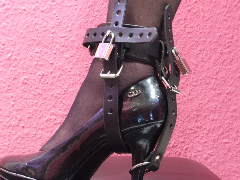cbaf4f3c02 Leather high heels shackles padded lockable no chance for | Etsy