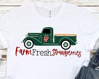 Spring Svg, Farm Fresh Strawberries svg, Vintage Truck svg, Old Truck svg, Strawberry svg, Spring svg design, Spring cut file, Spring cricut