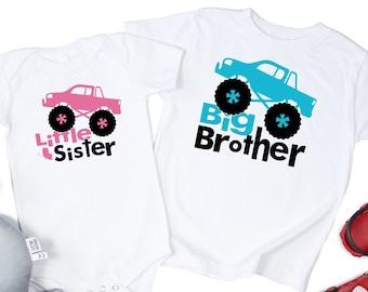 monster truck svg, Big Brother Svg, Little Sister Svg, Big Bro Svg, Lil Sis Svg, Monster Truck Cut File, Sibling Quote Svg, monster truck