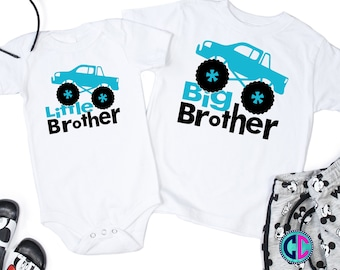 monster truck svg, Big Brother Svg, Little Brother Svg, Big Bro Svg, Lil Bro Svg, Monster Truck Cut File, Sibling Quote Svg, monster truck