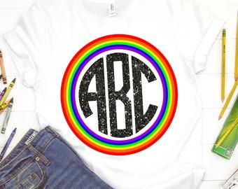Circle Monogram Rainbow svg,Rainbow svg,Monogram Circle svg,Love Pride Rainbow,Pride svg,Distressed tshirt,crafty cuttables,Cricut Design