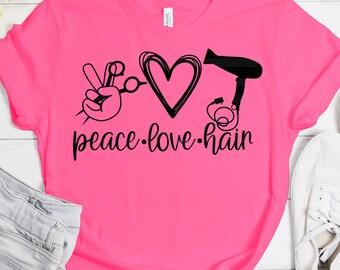 peace love hair svg, blow dryer love SVG, love cord Svg, peace svg love svg, hair svg, Hairstylist svg designs, cut file, cricut svg