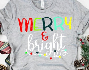 Merry and bright svg, merry svg, Christmas lights SVG, DXF, EPS,Christmas saying, svg, merry Christmas svg, svg for cricut,Silhouette Design