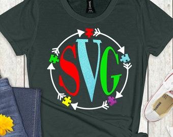 autism monogram svg, autism svg, awareness svg, autism puzzle svg, puzzle svg,monogram svg, cut file, cricut svg, svg for mobile, mobile svg