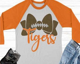 tigers football bow svg, Football svg, tigers football, tigers, tigers svg, Sports Svg Designs, Sports Cut File, cricut svg